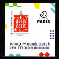 F 2019 / Neuf** Paris' écrit, Timbre Adhésif, International, Hors Programme, - France