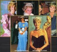 Tod Lady Di 1997 Niger 5 Blocks 110/111 ** 40€ Fotos Diana Great Britain Hojas Blocs Princess Ss Royal Sheets Bf UK - Timbres