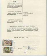 """(Maurice) Mauritius. Timbres Postaux Utilisés Comme Fiscaux Sur Certificat D'avaries 1980. Bateau """"Air France 1333"""" . - Maurice (1968-...)"""