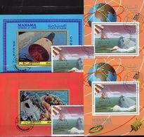 Landung Apollo 9+10 1969 Manama A+B 211,Blocks I+J35,Bl.191+217 O 77€ Raumschiffe Ss Blocs M/s Sheets Bf Spacesphip - Timbres
