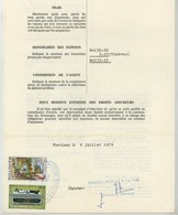 """(Maurice) Mauritius. Timbres Postaux Utilisés Comme Fiscaux Sur Certificat D'avaries 1979. Bateau """"Ville De Valence"""" . - Maurice (1968-...)"""