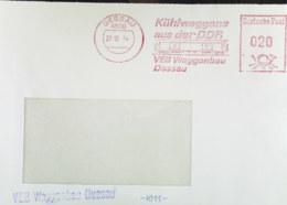 "DDR: Brief Mit Sauberen AFS DP=020= Zum Thema ""Eisenbahn"" Kühlwaggons Aus Der DDR VEB Waggonbau Dessau 27.12.84 Knr: AFS - DDR"
