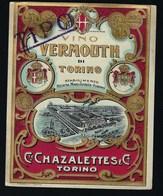 Ancienne étiquete  Vino  Vermouth Cet Chazalettes  & Cie   Torino  étiquette  Vers 1910-1915 - Etiquettes