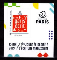 F 2019 / Neuf** Paris' écrit, Timbre Adhésif, Lettre Verte, Hors Programme, - Frankrijk