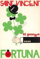Cartolina Saint Vincent Ti Porge Fortuna Illustrata Quadrifoglio Casinò 1985 - Non Classificati