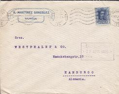 Spain A. MARTINEZ GONZÁLEZ, Tms. Cds. MURCIA 1925 Cover Letra HAMBURG Germany Single Alphonse XIII. - 1889-1931 Royaume: Alphonse XIII