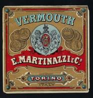 Ancienne étiquete   Vermouth  E Martinazzi & Cie   Torino  étiquette  Vers 1920 - Etiquettes