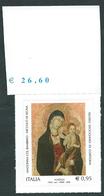 """Italia 2016; Natale Religioso, """"Madonna Col Bambino"""", Da € 0,95 ; Bordo Superiore Con Il Prezzo Del Foglio. - 1946-.. République"""
