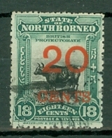 North Borneo: 1909   Banteng - Surcharge    SG177   20c On 18c  [Perf: 13½-14]  Used - North Borneo (...-1963)