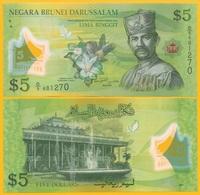 Brunei 5 Ringgit P-36 2011 UNC Polymer Banknote - Brunei