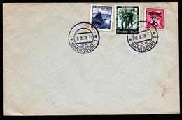 A4338) DR Sudetenland Umschlag Mit 3 Marken Von Warnsdorf 19.10.38 Mit Apt. Stempel - Besetzungen 1938-45