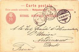 CP COMMERCIALE Avec ENTIER POSTAL Du 27 Nov. 1884 Au Départ De WINTERTHUR Pour La FRANCE à AUDINCOURT - Interi Postali
