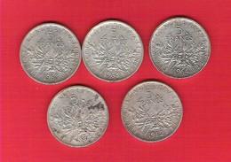 Lot 5 Pièces  5 Francs Argent Semeuse 1960/62/63/64 - Francia