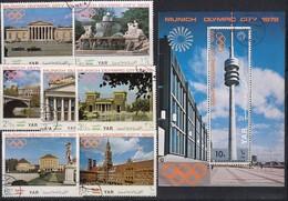 1972 MÜNCHEN - Nordjemen  - MiNr: 1232-1238 Komolett + Block 145  Used - Sommer 1972: München