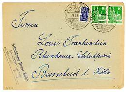 """""""SAARBURG - Landwirtschaftsschau"""" Sonderstempel 1950 Fernbrief Mit Paar Nr. 90 - Zone Anglo-Américaine"""