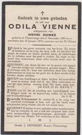 DOODSPRENTJE VIENNE ODILA ECHTGENOTE DUMEZ VLAMERTINGE (1891 - 1933) - Imágenes Religiosas