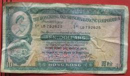 10 Dollars The Hongkong And Shanghai Banking Corporation 1975 (WPM 182g) - Hongkong