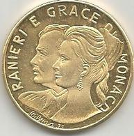 Principato Di Monaco, Ranieri E Grace, Mistura Dorata Gr. 8, Cm. 2,8. - Gettoni E Medaglie
