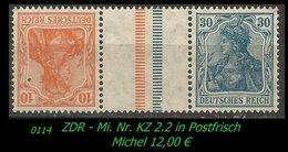 Postfrischer ZDR - Mi. Nr. KZ 2,2 - Se-Tenant