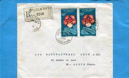 Marcophilie-lettre Rec  Cameroun>Françe-cad-Douala Bassa-1969-2 StampN°A82 Flower Delonix - Cameroun (1960-...)