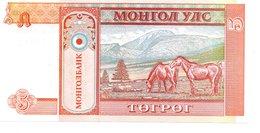 MONGOLI Billet  5 Mohro Tugrik - Cheval Horse Animal - Mongolie