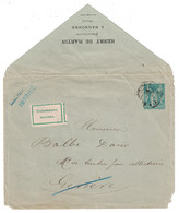 """1893 - REPIQUAGE """" HENRY DE MARTIN PHILATELISTE NARBONNE """" Sur ENVELOPPE ENTIER POSTAL SAGE 5c Pr GENEVE RETOUR INCONNU - Marcophilie (Lettres)"""