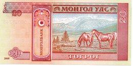 MONGOLI Billet  20 Mohro Tugrik  - Cheval Horse Animal - Mongolia