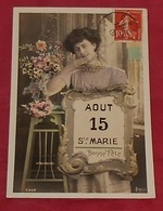 15  Aout Ste Marie : Bonne Fête  :::: Prénoms :::: Portrait - Femme - Fleurs   ---------- 500 - Firstnames