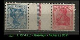 Postfrischer ZDR - Mi. Nr. KZ 4.1.1 - Zusammendrucke