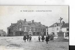 PLESSE  N 35  GRANDE PLACE ET LA CROIX    CROIX ET POMPE A EAU    PERSONNAGES DEPT 44 - France