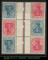 Postfrischer ZDR - Mi. Nr. KZ 4.1.1 Im 3er Block - Zusammendrucke