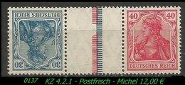 Postfrischer ZDR - Mi. Nr. KZ 4.2.1 - Zusammendrucke
