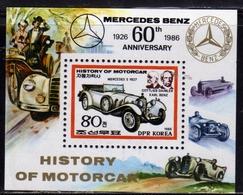 SOUTH KOREA COREA DEL SUD 1986 HISTORY OF MOTORCAR MERCEDES BENZ BLOCK SHEET BLOCCO FOGLIETTO MNH - Corea Del Sud