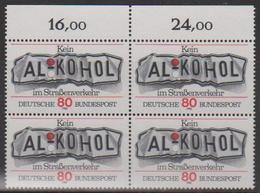 """BRD, 1982, Nr. 1145 **,  Ein Viererblock Mit Oberrand, """"Kein Alkohol Im Straßenverkehr"""" - [7] Repubblica Federale"""