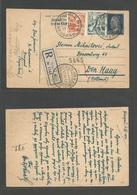 YUGOSLAVIA. 1952 (12 Apr) Belgrade - Netherlands, Den Haag (7 Apr) Registered Tito Blue Stat Card + 2 Adtls. VF + Scarce - Non Classés