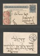 BC - Rhodesia. 1897 (25 Nov) Mashonaland. Melseter - Denmark, Copenhagen (10 Jan 98) 1d Blue-grey Inland Stationery Card - Unclassified