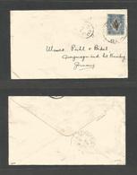MALAYSIA. 1925 (July) North Borneo, Jesselton - Germany, Nuremberg. Via Singapore (13 July 25) Fkd Envelope. 12c Blue Bi - Malaysia (1964-...)