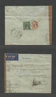 MALAYSIA. 1941 (5 May) FMS, Perak, Sabah, Taipina - India, Karaikuli (17 May). Reverse Airmail Fkd 55c Rate + Tied Cds + - Malaysia (1964-...)