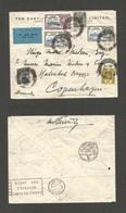 MALAYSIA. 1935 (22 June) Penang - Denmark, Copenhagen (1 July 35) Air Multifkd Env Incl Silver Wedding Values. 47c Rate. - Malaysia (1964-...)