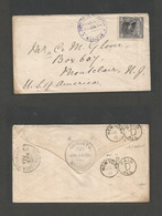 NICARAGUA. 1887 (23 June) Corinto - USA, Montalair, New Jersey. Fkd Envelope 10c Lilac Early Issue + Ink Cancel + Violet - Nicaragua