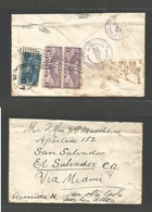 CUBA. 1930. Special Airmail Cuba - USA - Salvador. Mixed Air Fkd Env. Habana - Salvador (7 Dec) Via Miami. Rare Comercia - Non Classés