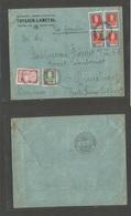 "Argentina - XX. 1934 (29 June) ""Via Zeppelin"" BsAs - Germany, Dussendolrf. Multifkd Env Incl 1 Peso (x4) + 5 Pesos. 9.35 - Argentine"