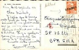 """FRANCE - Griffe Linéaire """" BPM 519 A """" Sur Type Gandon Sur Carte Postale De Nice En 1951 - L 29618 - Postmark Collection (Covers)"""