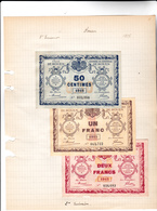 76 - ROUEN - 3 Billets De Ala Chambre De COMMERCE De La VILLE De ROUEN Deuxième édition 1915 - 50 Cts, Un Franc Et 2 Fra - Chamber Of Commerce