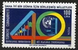 1985 TURKEY 40TH ANNIVERSARY OF THE UNITED NATIONS MNH ** - Ongebruikt