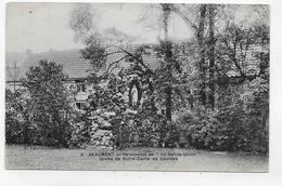 (RECTO / VERSO) BEAUMONT EN 1922 - N° 3 - PENSIONNAT DE LA SAINTE UNION  BEAU TIMBRE ET FLAMME DE BELGIQUE - CPA VOYAGEE - Beaumont