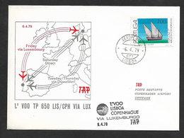 Portugal Premier Vol TAP Lisbonne Copenhagen Via Luxembourg 1979 Lisbon Copenhagen Flight - Poste Aérienne