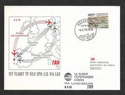 Portugal Premier Vol TAP Copenhagen Lisbonne Via Luxembourg 1979 Copenhagen Lisbon First Flight - Poste Aérienne