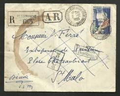 Recommandée / Recette Rurale VILLEFRANCHE DU QUEYRAN - LOT ET GARONNE / Timbre Joaillerie 02.12.1955 - Postmark Collection (Covers)