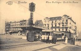 CPA -  Belgique, KNOKKE /  KNOCKE-SUR-MER, Place Republique, Arret Du Tram - Knokke